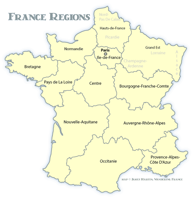 France Regions Map Wandering France Blog